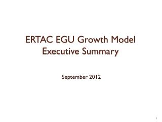 ERTAC EGU Growth Model Executive Summary