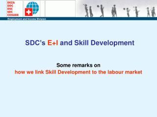 SDC's  E+I  and Skill Development