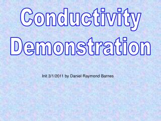 Conductivity Demonstration