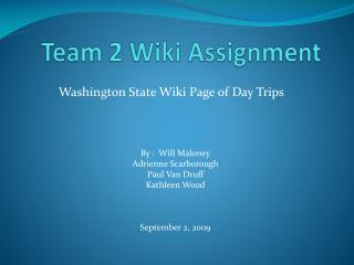 Team 2 Wiki Assignment
