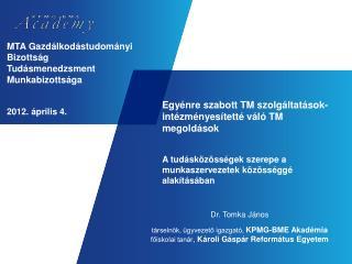 MTA Gazdálkodástudományi Bizottság Tudásmenedzsment Munkabizottsága 2012. április 4.