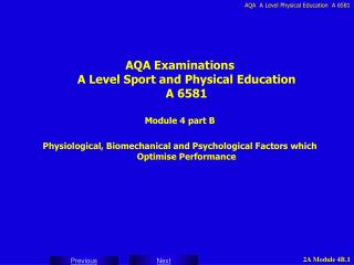 AQA Examinations A Level Sport and Physical Education A 6581 Module 4 part B