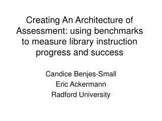 Candice Benjes-Small Eric Ackermann Radford University