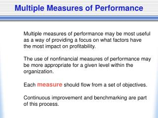 Multiple Measures of Performance