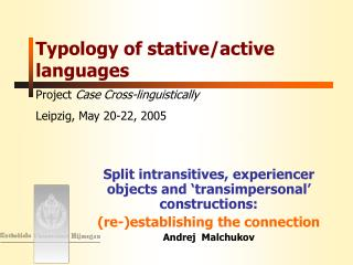 Typology of stative/active languages