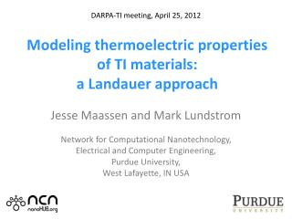 Modeling thermoelectric properties of TI materials:  a  Landauer  approach