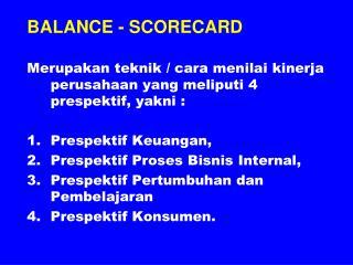 BALANCE - SCORECARD