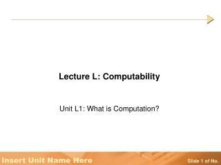 Lecture L: Computability
