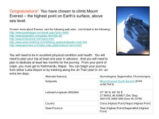 Congratulations  You have chosen to climb Mount Everest   the highest point on Earth s surface, above sea level.  To lea