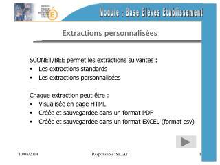 Extractions personnalisées