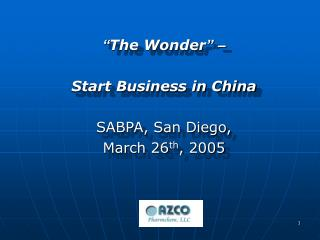 The Wonder      Start Business in China   SABPA, San Diego,  March 26th, 2005