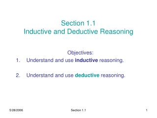Section 1.1 Inductive and Deductive Reasoning