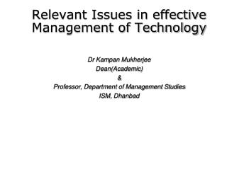Relevant Issues in effective Management of Technology