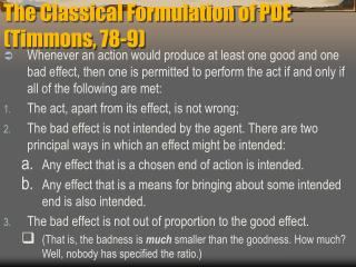 The Classical Formulation of PDE (Timmons, 78-9)