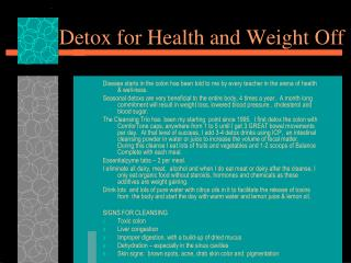 Detox for Health and Weight Off