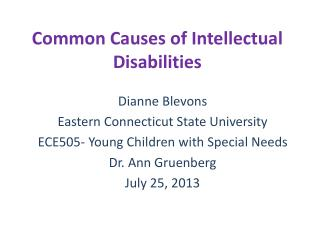 Common Causes of Intellectual Disabilities