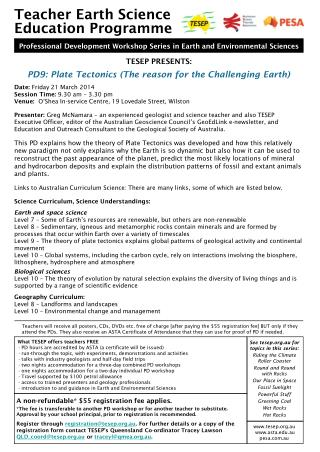 TESEP PRESENTS: PD9: Plate Tectonics (The reason for the Challenging Earth)