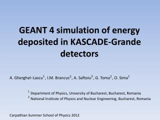 GEANT 4 simulation of energy deposited in KASCADE-Grande detectors