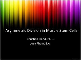 Asymmetric Division in Muscle Stem Cells