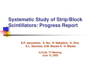 Systematic Study of Strip/Block Scintillators: Progress Report