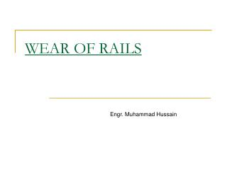 WEAR OF RAILS