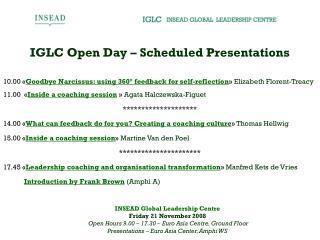 IGLC Open Day – Scheduled Presentations