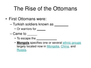The Rise of the Ottomans