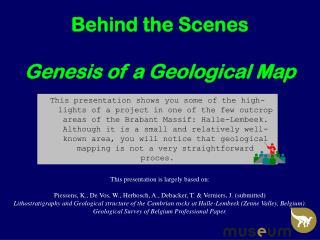 Behind the Scenes Genesis of a Geological Map