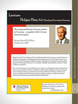Holger Hinz,  Bloomington , In 3-25-2013
