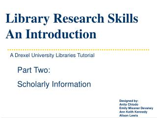 Library Research Skills An Introduction