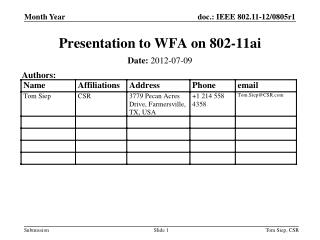 Presentation to WFA on 802-11ai