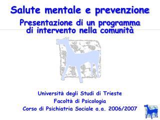 Salute mentale e prevenzione