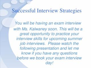 Successful Interview Strategies