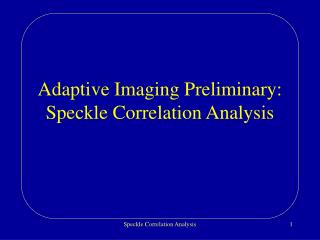 Adaptive Imaging Preliminary: Speckle Correlation Analysis