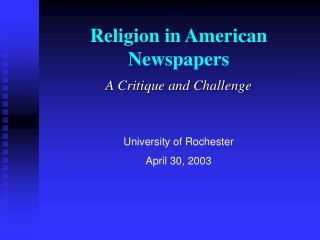 Religion in American Newspapers