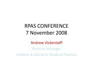 RPAS CONFERENCE 7 November 2008