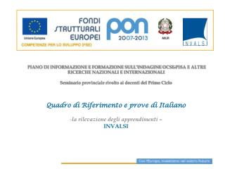 Italiano:  la struttura del Quadro di Riferimento