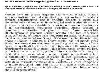 """Da """"La nascita della tragedia greca"""" di F. Nietzsche"""