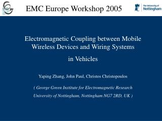 Electromagnetic Coupling between Mobile Wireless Devices and Wiring Systems  in Vehicles