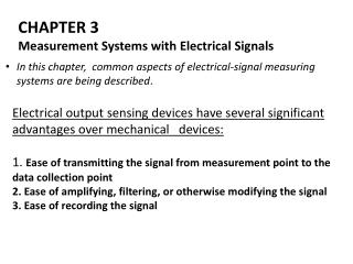 CHAPTER  3 Measurement  Systems with  Electrical Signals