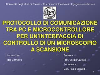 Universit� degli studi di Trieste � Tesi di laurea triennale in Ingegneria elettronica