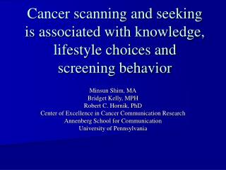 Cancer scanning and seeking is associated with knowledge, lifestyle choices and screening behavior