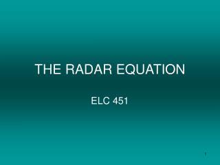 THE RADAR EQUATION