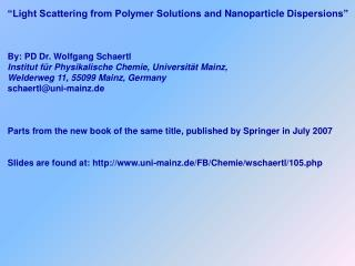 �Light Scattering from Polymer Solutions and  Nanoparticle  Dispersions�