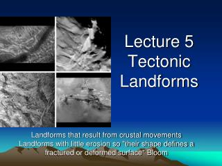 Lecture 5 Tectonic Landforms
