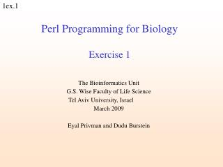 Perl Programming for Biology Exercise 1