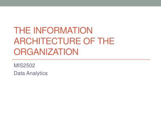 The information architecture of the organization