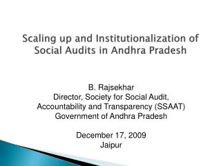 Scaling up and Institutionalization of Social Audits in Andhra Pradesh