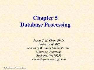 Chapter 5 Database  Processing