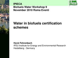 Water in biofuels certification schemes